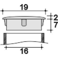 Заглушка пластиковая с тонкой шляпкой 19 мм для отверстия диаметром 16 мм.