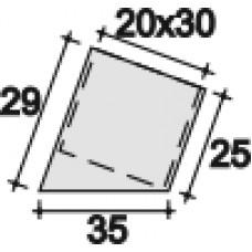 Опора наружная под углом относительно основания для труб прямоугольного сечения с внешними габаритами 20х30 мм. Отлита из ПВХ.