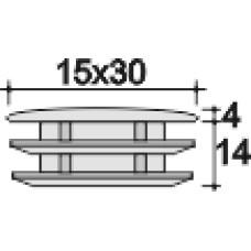 Заглушка пластиковая внутренняя с толстой плоской шляпкой для труб с сечением в форме эллипса с внешними габаритами сечения 15х30 мм