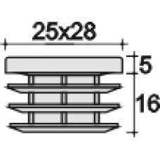 Заглушка пластиковая внутренняя с толстой шляпкой для труб прямоугольного сечения с внешними габаритами сечения 25х28 мм и толщиной стенки трубы 1.5-4.0 мм.