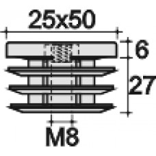 Заглушка пластиковая прямоугольная 25х50, с металлической резьбой М8, черная