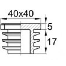Заглушка пластиковая внутренняя с толстой шляпкой для труб квадратного сечения с внешними габаритами 40х40 мм и толщиной стенки трубы 1.5-4.0 мм. Белая