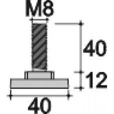 Опора резьбовая регулируемая с основанием D40 и резьбой М8х40 под ключ, черная