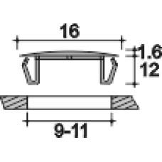 Заглушка пластиковая под отверстие d9-11, с ультратонкой шляпкой D16 мм, толщиной 1.6 мм, чёрная