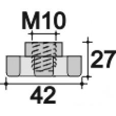 Ручка-фиксатор с пластиковой лепестковой рукояткой диаметром 42 мм и резьбовым отверстием M10.