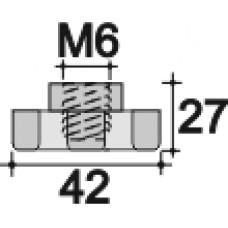 Ручка-фиксатор с пластиковой лепестковой рукояткой диаметром 42 мм и резьбовым отверстием M6.