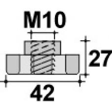 Барашек пластиковый с рукояткой D42 и резьбой M10, проходной, черный