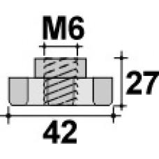 Барашек пластиковый с рукояткой D42 и резьбой M6, проходной, черный