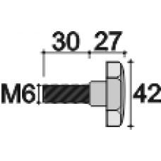 Ручка-фиксатор с пластиковой лепестковой рукояткой диаметром 42 мм и металлическим резьбовым стержнем М6х30.