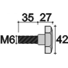 Ручка-фиксатор с пластиковой лепестковой рукояткой диаметром 42 мм и металлическим резьбовым стержнем М6х35.