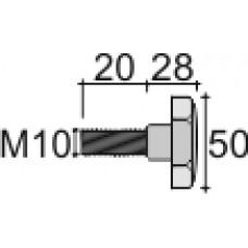 Ручка-фиксатор с пластиковой лепестковой рукояткой диаметром 50 мм и металлической оцинкованной резьбой М10х20