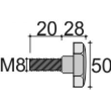 Фиксатор пластиковый с рукояткой D50 и резьбой М8х20, серый