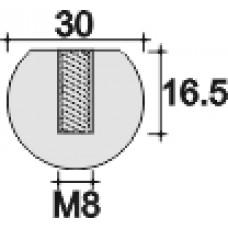 Шарик пластиковый D30, с резьбой М8, чёрная
