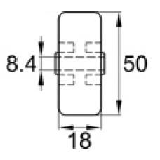 Колесо мебельное пластиковое, обрезиненное с наружным диаметром 50 мм и внутренним диаметром 8 мм.