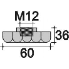 Барашек пластиковый с рукояткой D60 и резьбой М12, черный
