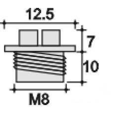 Заглушка пластиковая с уплотнительным кольцом из каучука. Подходит под внутреннюю резьбу M8х1. Шляпка с крестообразным шлицем.