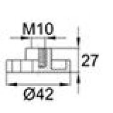 Барашек пластиковый с рукояткой D42 и резьбой М10, чёрный