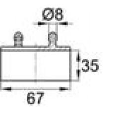 Латодержатель пластиковый накладной для лат сечением 8х67 мм.