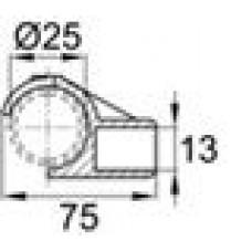 Латодержатель пластиковый для лат сечением 13х62 с креплением на трубу круглого сечения с внешним диаметром 25 мм.