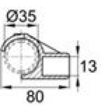 Латодержатель пластиковый для лат сечением 13х62 с креплением на трубу круглого сечения с внешним диаметром 35 мм.