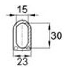 Наконечник пластиковый для труб овального сечения с внешними габаритами 15х30 мм