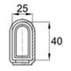 Наконечник пластиковый для труб полуовального сечения с внешним диаметром 25х40 мм