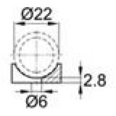 Подпятник пластиковый для труб или прутков круглого сечения с внешним диаметром сечения 22 мм