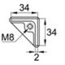 Опора пластиковая с резьбовым отверстием M8 для равнополочных уголков с размером 34х34