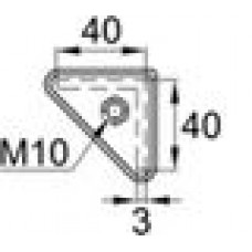 Опора пластиковая с резьбовым отверстием M10 для равнополочных уголков с размером 40х40