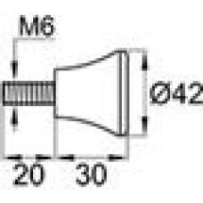 Ручка-фиксатор с пластиковой рукояткой диаметром 42 мм и металлическим резьбовым стержнем М6х20.