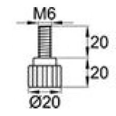 Ручка-фиксатор с пластиковой лепестковой рукояткой диаметром 20 мм и металлическим резьбовым стержнем М6х20.