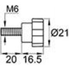 Ручка-фиксатор разборный с пластиковой лепестковой рукояткой диаметром 21 мм и металлической резьбой М6х20.
