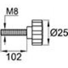 Ручка-фиксатор с пластиковой лепестковой рукояткой диаметром 25 мм и металлическим резьбовым стержнем М8х100.