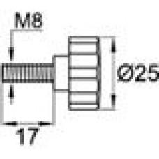 Ручка-фиксатор с пластиковой лепестковой рукояткой диаметром 25 мм и металлическим резьбовым стержнем М8х15.