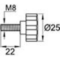Ручка-фиксатор с пластиковой лепестковой рукояткой диаметром 25 мм и металлическим резьбовым стержнем М8х20.