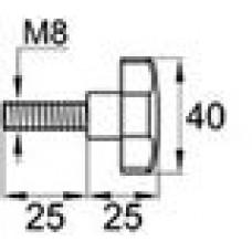 Ручка-фиксатор с пластиковой рукояткой 40 мм и металлическим резьбовым стержнем М8х25.
