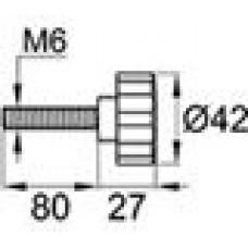 Ручка-фиксатор с пластиковой лепестковой рукояткой диаметром 42 мм и металлическим резьбовым стержнем М6х80.