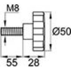 Ручка-фиксатор с пластиковой лепестковой рукояткой диаметром 50 мм и металлической оцинкованной резьбой М8х55