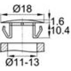 Заглушка пластиковая со шляпкой толщиной 1.6 мм и диаметром 18 мм для отверстия в листовом металле диаметром от 11 мм до 13 мм.
