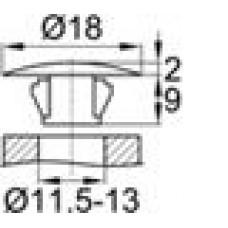 Заглушка под отверстие диаметром 11,5-13 мм, шляпка диаметром 18 мм.