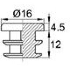 Заглушка пластиковая внутренняя с толстой шляпкой для труб Ø16 мм с толщиной стенки 1.0-2.5 мм.