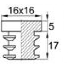Заглушка пластиковая внутренняя с толстой шляпкой для труб квадратного сечения 16х16 мм