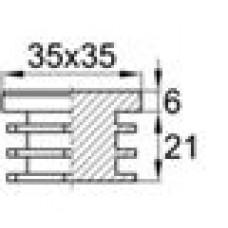 Заглушка пластиковая внутренняя с толстой шляпкой для труб квадратного сечения 35х35 мм
