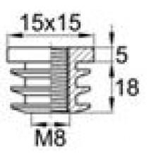 Заглушка пластиковая внутренняя с пластиковой резьбой М8 для труб квадратного сечения с внешними габаритами сечения 15х15 мм и толщиной стенки трубы 1.0-2.0 мм.