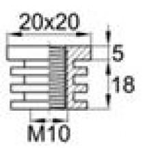 Заглушка пластиковая внутренняя с пластиковой резьбой М10 для труб квадратного сечения с внешними габаритами сечения 20х20 мм