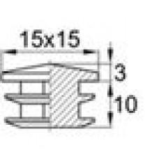 Заглушка пластиковая внутренняя с декоративной шляпкой для труб квадратного сечения 15х15 мм.