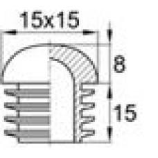 Заглушка пластиковая внутренняя с толстой полусферической шляпкой для труб квадратного сечения 15х15 мм и толщиной стенки трубы 1.0-3.0 мм.
