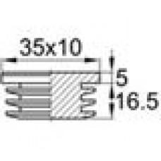 Заглушка пластиковая внутренняя с толстой шляпкой для труб прямоугольного сечения с внешними габаритами сечения 10х35 мм