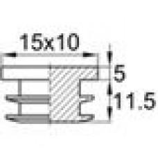 Заглушка пластиковая внутренняя с толстой шляпкой для труб прямоугольного сечения с внешними габаритами сечения 10х15 мм