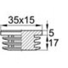 Заглушка пластиковая внутренняя с толстой шляпкой для труб прямоугольного сечения с внешними габаритами сечения 15х35 мм.
